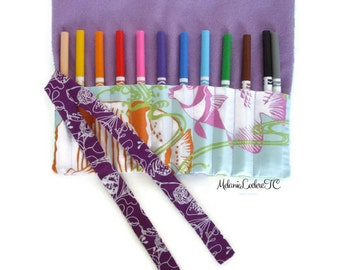 Pencil case, Holster for hooks, brushes, storage, safe to pencil case / fish, blue, lilac, mauve