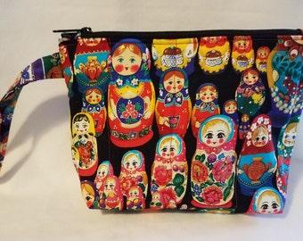 Matryoshka Dolls Quilted Wristlet