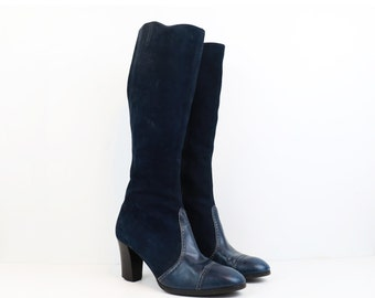 Vintage 70s Navy Blue Leather Knee High Boots size 8