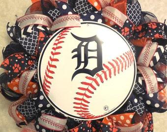 Detroit Tigers Wreath, Tigers Wreath, Sports Wreath, Baseball wreath, Detroit Tigers, Detroit Tigers decor, Detroit Decor