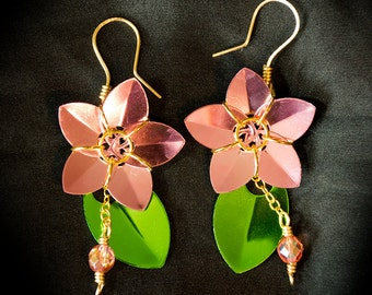 Cherry Blossom Scale Flower Earrings - Brass & Scalemail Sakura Flower Earrings