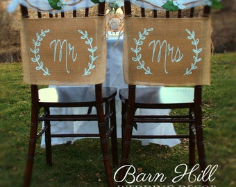 Wedding Chair Covers, Mr & Mrs Chair Signs, Mr and Mrs Burlap Banner, Rustic Chair Banners, Rustic Wedding