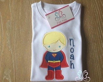 Superboy  Personalized  Short sleeve Bodysuit, Shirt, Bib or Burp Cloth  for BOYS -  Superhero