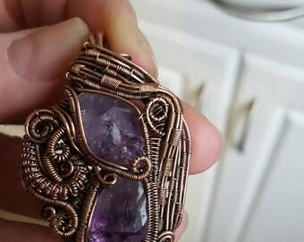 Copper wire and Amethyst purple ooak pendant original wearable art sculpture