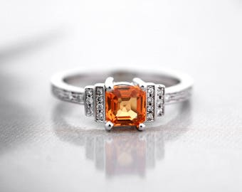 Orange Sapphire Ring in 18ct White Gold-Natural Orange Sapphire and Diamond Ring-Orange Sapphire Engagement Ring-FREE SHIPPING-Ready to Ship