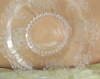 """Vintage MARTINSVILLE RADIANCE """"Meadow Wreath"""" Etched Crimped Ruffle BOWL"""