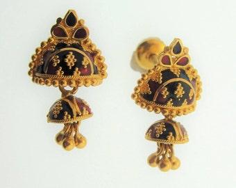 Indian  Gold Drop Enamel Earrings -22k Yellow Gold