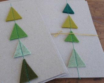 Greetingcard trees made of woolfelt card for party wedding invitation