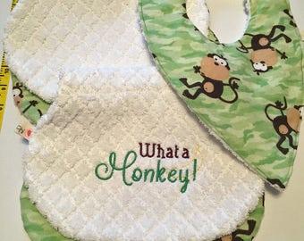 What a Monkey - Handmade burp cloths and bib