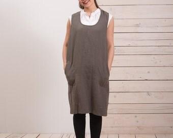 Linen Pinafore Apron - Womens linen apron - Line crossback apron - Square cross linen apron - Japanese style apron - No ties linen apron