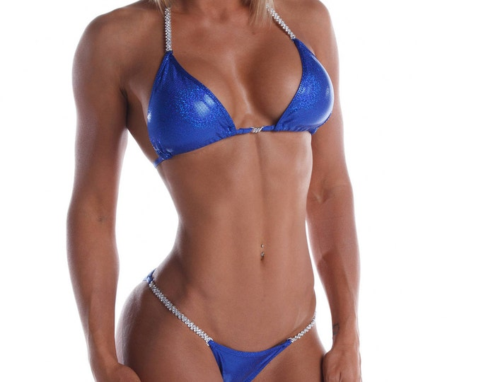 Royal Miss Fit Blue Competition Bikini  NPC, IFBB, WBFF Bodybuilding Posing Suit
