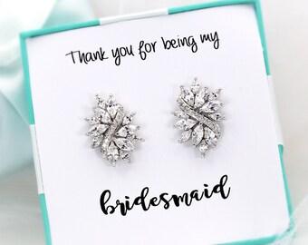 Wedding Earrings Platinum Zirconia Earrings Wedding Jewelry Bridesmaid Earrings Bridesmaid Earrings Bridesmaid Gift Wedding Jewelry leaf
