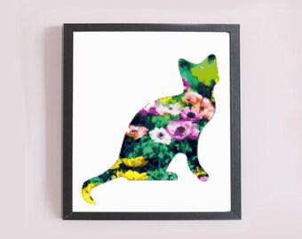 Modern Cross Stitch Pattern - Flower Kitty Cat