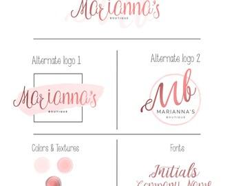Branding Kit, Premade branding package, Feminine Logo design, foiled texture, Pink, Business logo design, modern logo, Boutique, photography