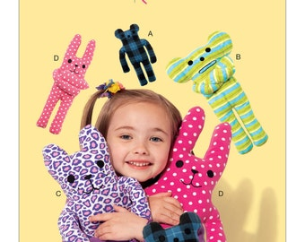Sewing Pattern for Animal-Themed Plush Toys , Kwik Sew # 4204, Kwik Start, Learn-to-Sew Pattern, Stuffed Toys, Fleece Toys to Sew