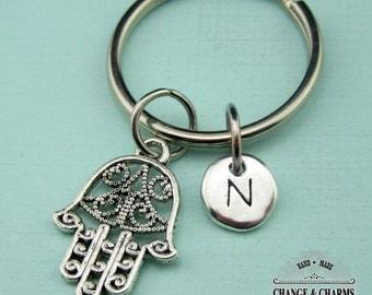 Hamsa Hand Keychain, Hamsa Keychain, Hand Keychain, Hamsa Hand Charm, Personalized Keychain, Initial Charm, Custom Keychain, Monogram,CRE005