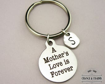 A Mother's Love Is Forever Keychain, Mom Keychain, Mother's Day Gift, Initial Charm, Charm Keychain,Stainless Steel,Personalized Gift,CST009
