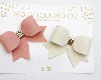 Peach and Cream Wool Felt Hair Bows. Set of 2. Baby Hair Bows - Hair Accessories - Hair Bows - For Children and Adults.