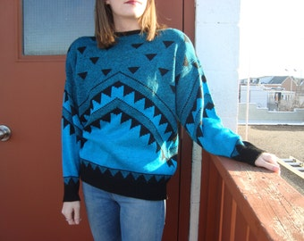 Retro 80's Teal and Black Sweater with Shoulder Pads // Made in Canada // Geometric Pattern // Vintage Knit // Turquoise & Black Sweater