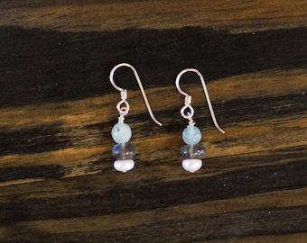Aquamarine, Labradorite, & Freshwater Pearl Earrings