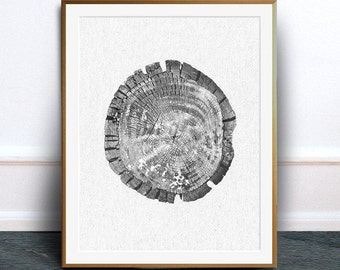 Tree rings print, tree ring art, tree ring poster, black and white photograph, digital download, scandi printable, instant download