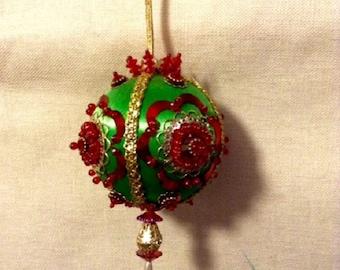 vintage silk covered christmas ornament