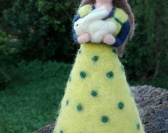 Needle felted Waldorf doll hugging a bunny. Soft wool sculpture. Easter, Spring or nursery decoration.