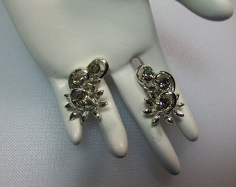 Vintage Smoke Grey Rhinestone Swirling Silver Tone Leaves Clip Earrings Designer Signed BSK