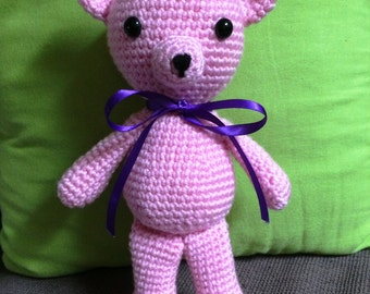 Pink Crochet Teddy Bear