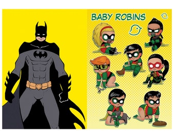 Batman and Baby Robins Poster Prints