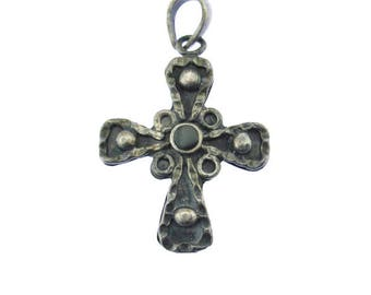 Vintage Sterling Silver Cross Pendant, Silver and Onyx Cross Pendant, Large Silver Cross Pendant, 925 Cross Pendant, Sterling Silver Pendant