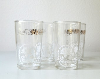 vintage small drinking glasses gold white floral shabby chic juice wine drinking glasses