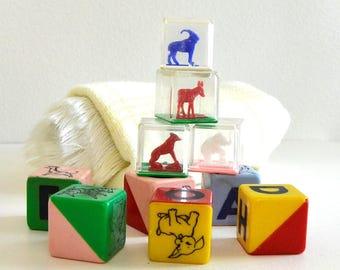 vintage toy blocks animal alphabet cubes blocks rattle blocks picture blocks