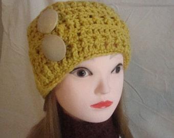 Ear Warmer, Gold Ear Warmer, Womans Ear Warmer, Womans Gold Ear Warmer, Womans Crocheted Gold Ear Warmer, Head Warmer, Gold Head Warmer