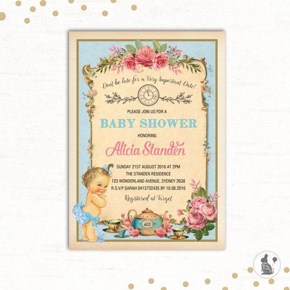 Alice in wonderland invitation baby shower tea party invite il570xn filmwisefo