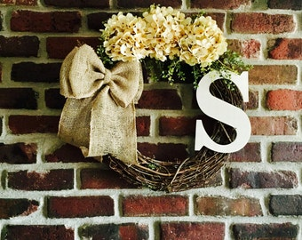 Fall Monogram Wreath-Fall Wreath-Monogram Wreath-Rustic Wreath-Front Door Wreath-Monogrammed Wreath-Everyday Wreath-Hydrangea Wreath
