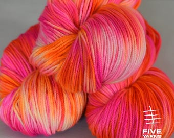 Hand dyed yarn, Neon Dream Reversed- Sock - Merino Superwash/Cashmere/Nylon, Handdyed yarn, Hand dyed sock yarn, MCN