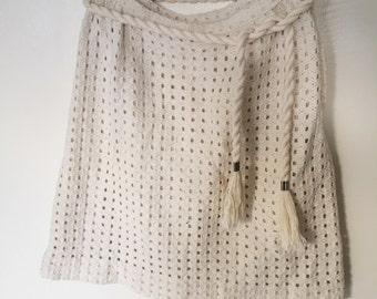 70s Macrame Skirt / Vintage Knit Skirt w Twisted Rope Belt