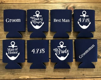 Bride -  Maid of Honor - Bridesmaid Can Covers - Monogrammed - Navy Blue/White - Wedding Party Can Covers