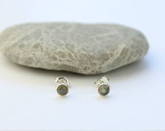 Tiny Studs - Labradorite Earrings - Dainty Jewellery for Her - Sterling Silver - Minimal Silver Studs - Post Earrings - Bridesmaid Gift