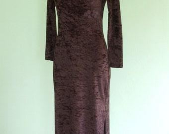 80s velvet dress / asian style / panne velvet / long / size XS-S  / vintage / brown