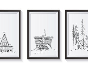 Set of three cabin prints drawn with ink & pen