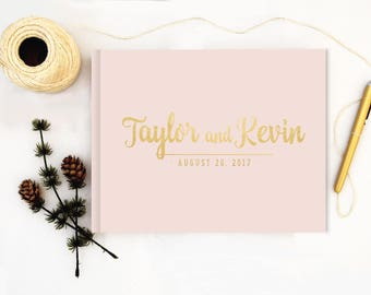 Real Gold Foil Wedding Guest Book landscape horizontal Gold foil Guest Books Custom Guestbook Modern Wedding Script Wedding - blush
