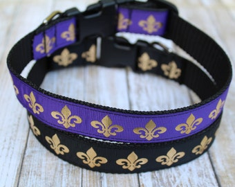 Fleur de Lis Dog Collar - Fleur de Lis Dog Leash - Designer Dog Collar - Fleur de Lis Dog Harness - Gold Fleur De Lis Dog Collar