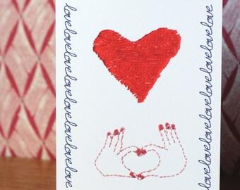 Greeting card printed Love