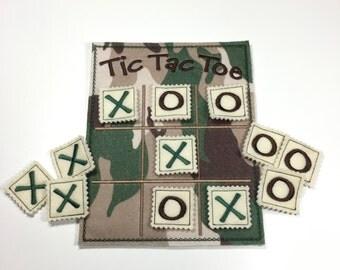 Tic Tac Toe, kids game, travel games, road trip games, felt games, kids gift, stocking stuffer, toys & games, camouflage, kids birthday gift