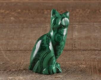 1.6 Inch MALACHITE Stone Cat Carving - Cat Statue, Cat Art, Cat Gift, Cat Figurine, Malachite Crystal, Cat Sculpture, Cat Lovers Gift 36354