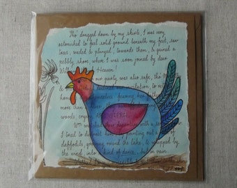 Hand Painted Chicken Greetings Card