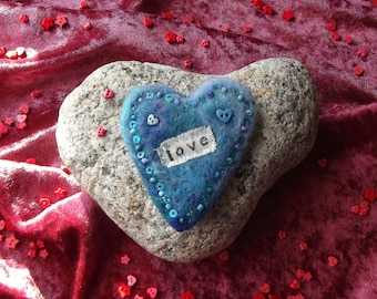 SALE: Love Heart Brooch - Handmade, Needle Felted