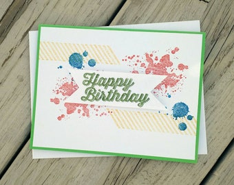 Birthday card, Birthday gift, Birthday card him, happy birthday card, Birthday Greeting, Birthday card her, Stampin up card, homemade card